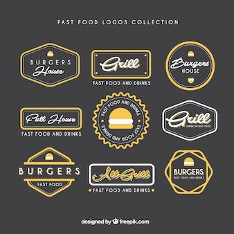 dibujado colección de logotipos de comida rápida de la mano