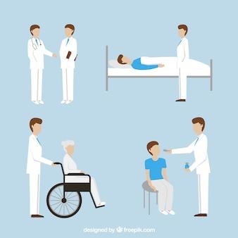 Dibujado mano del médico y los pacientes paquete