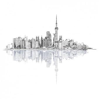 Dibujado mano del paisaje urbano