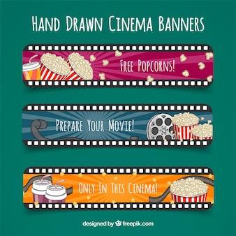 dibujados a mano banderas de cine con forma de carrete
