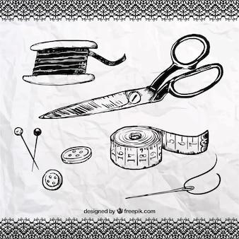 Dibujados a mano elementos de costura