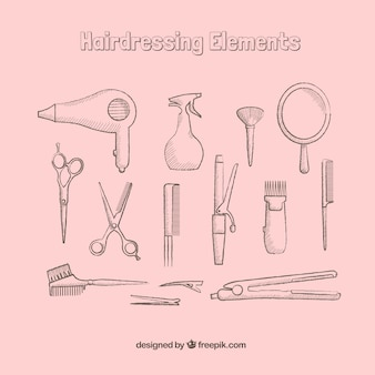 Dibujados a mano elementos de peluquería
