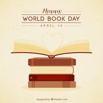 Dibujados a mano libros con un fondo del corazón