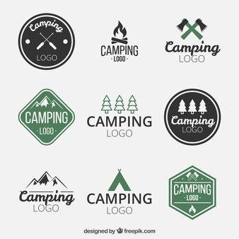 dibujados a mano logotipos camping
