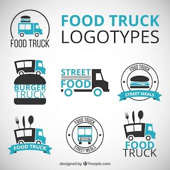 dibujados a mano logotipos de camiones de alimentos con detalles azules