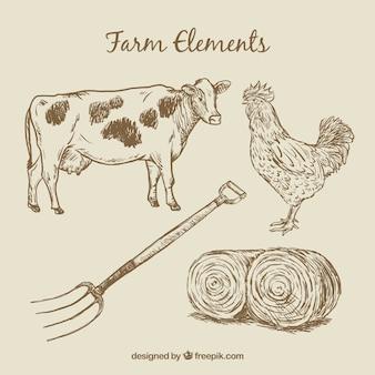 Dibujados a mano los animales de granja y los elementos