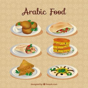 Dibujados a mano menús típicos árabes