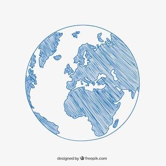 Dibujo a boceto de la bola del Mundo