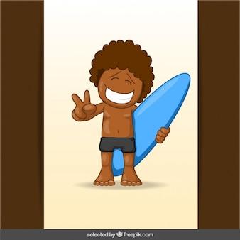 Dibujo animado que practica surf