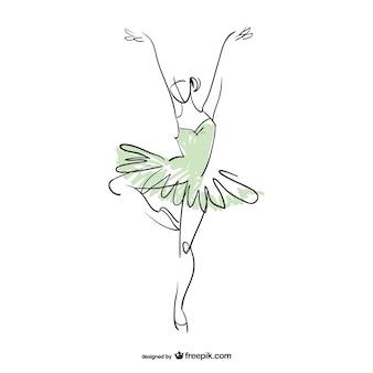 Dibujo de bailarina en dos colores