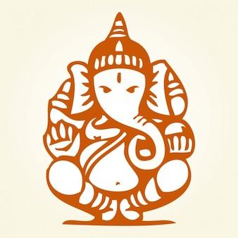 Dibujo de Ganesha sentado