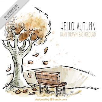 Dibujo de un paisaje de otoño con acuarelas