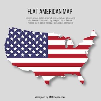 Dibujo plano de mapa de américa con diseño de bandera