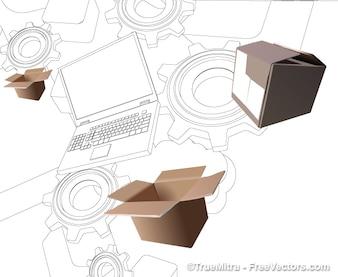 Dibujo portátil con fondo realista de cajas