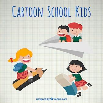 Dibujos animados de niños escolares vintage