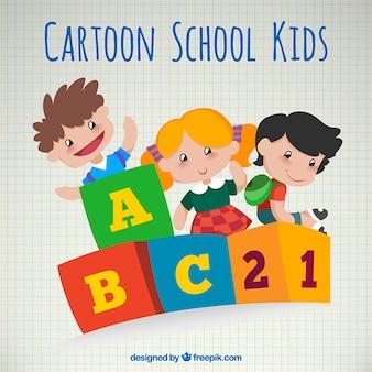 Dibujos animados de niños escolares