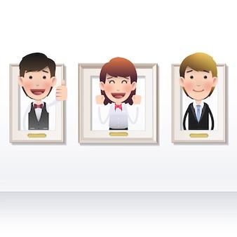 Dibujos animados hombre de negocios moderno marco entrar