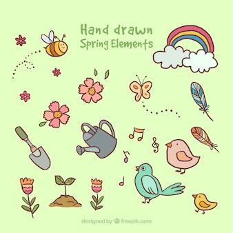 Dibujos de elementos primaverales