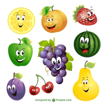 Dibujos de frutas vector de expresión