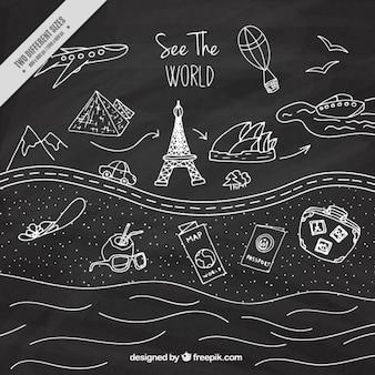 Dibujos de viaje en efecto pizarra