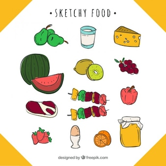 Dieta variada dibujada a mano