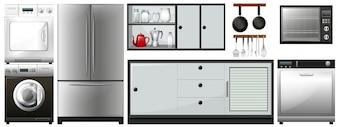 Diferentes aparatos de uso en la ilustración del hogar