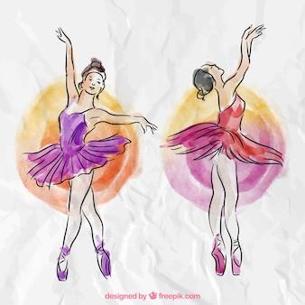 Diferentes bailarinas en estilo acuarela