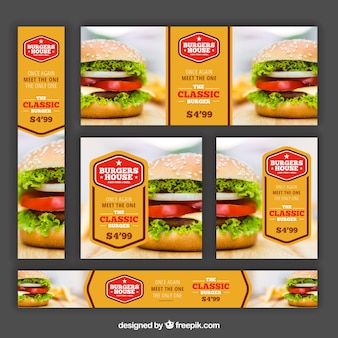 Diferentes banners de hamburguesería
