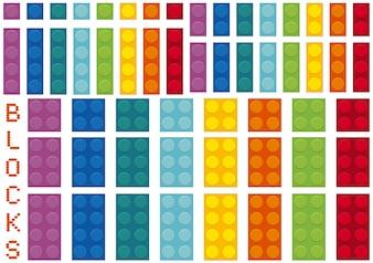 Diferentes colores y tamaños de bloques