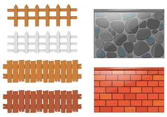 Diferentes diseños de cercas y muros