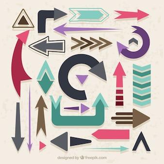 Diferentes diseños de flechas en diseño plano