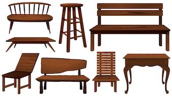 Diferentes diseños de sillas de madera ilustración