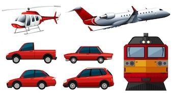 Diferentes diseños de transporte ilustración