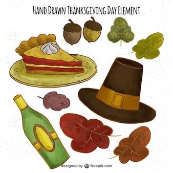 Diferentes elementos listos para el día de acción de gracias