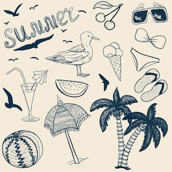Diferentes elementos para verano, dibujados a mano