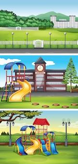 Diferentes escenas con ilustración de césped