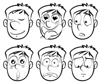 Diferentes expresiones faciales en el hombre