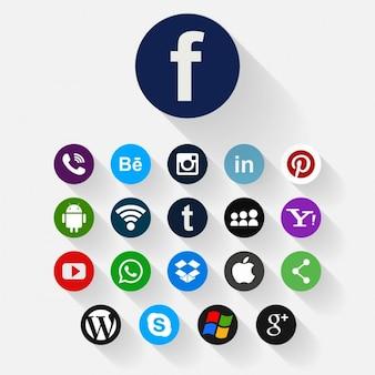 Diferentes iconos de redes sociales