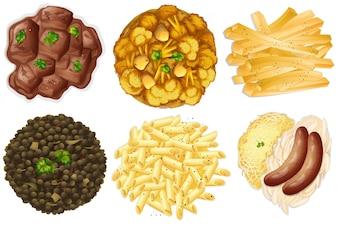 Diferentes juegos de alimentos
