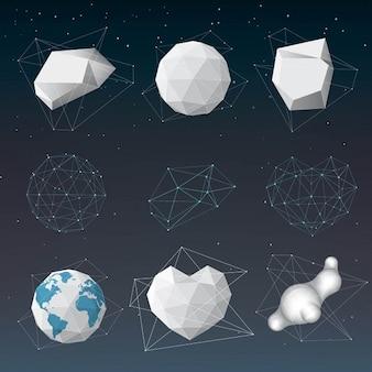 Diferentes objetos poligonales 3d