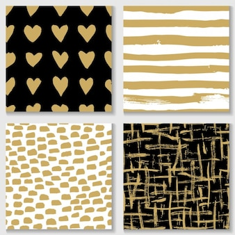Diferentes patrones con elementos dorados