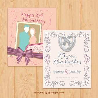 Diferentes tarjetas de aniversario de boda