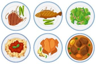 Diferentes, tipos, alimento, platos, Ilustración