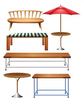 Diferentes tipos de banco y silla de madera