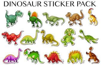 Diferentes tipos de dinosaurios en la ilustración de diseño de pegatina