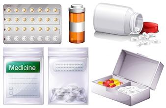 Diferentes tipos de ilustración de la medicina