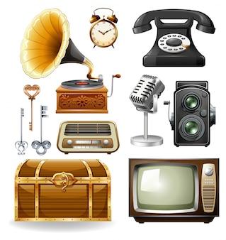 Diferentes tipos de objetos en el diseño vintage
