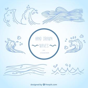 Diferentes tipos de olas dibujadas a mano