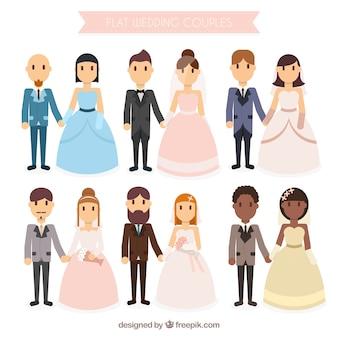 Diferentes tipos de parejas de boda