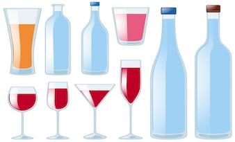 Diferentes tipos de vasos y botellas
